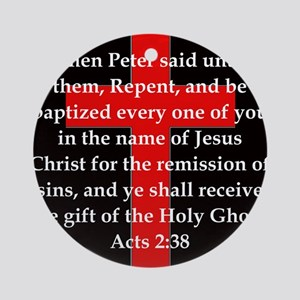Acts 2-38 Round Ornament
