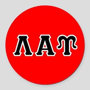 Lambda Alpha Upsilon Letters Blac Round Car Magnet