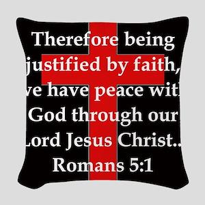 Romans 5-1 Woven Throw Pillow