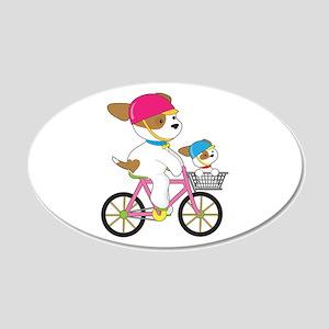 Cute Puppy on Bike 20x12 Oval Wall Decal