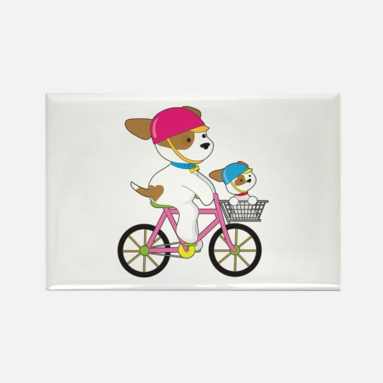 Cute Puppy on Bike Rectangle Magnet (100 pack)