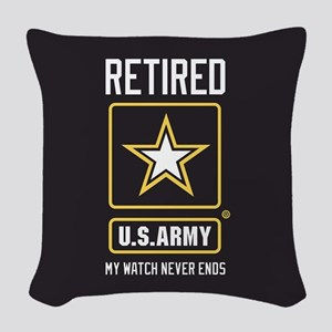 US Army Retired Watch Never En Woven Throw Pillow
