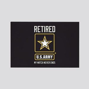 US Army Retired Watch Never Ends Rectangle Magnet