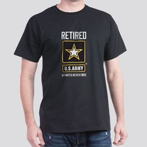 US Army Retired Watch Never Ends Dark T-Shirt