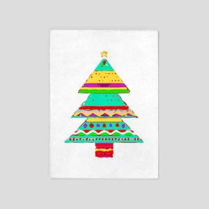 Merry Christmas Tree Red Green Aqua 5'x7'a