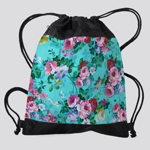 Red & Pink Rose Turquoise Blue  Drawstring Bag