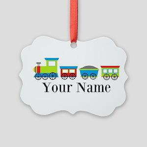 Personalizable Train Cartoon Ornament