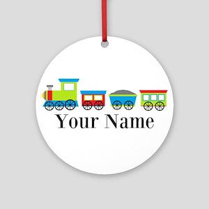 Personalizable Train Cartoon Ornament (Round)