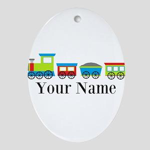 Personalizable Train Cartoon Ornament (Oval)