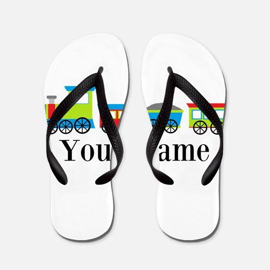 Personalizable Train Cartoon Flip Flops