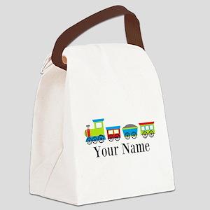 Personalizable Train Cartoon Canvas Lunch Bag