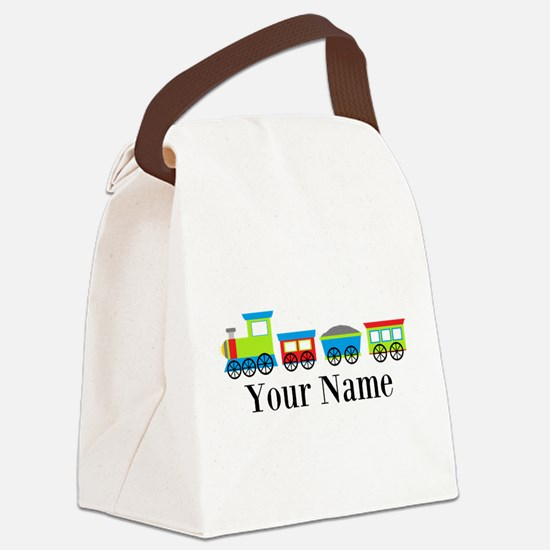 Personalizable Train Cartoon Canvas Lunch Bag