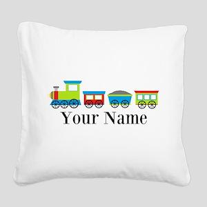 Personalizable Train Cartoon Square Canvas Pillow