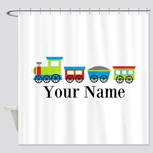 Personalizable Train Cartoon Shower Curtain