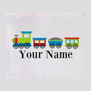 Personalizable Train Cartoon Throw Blanket