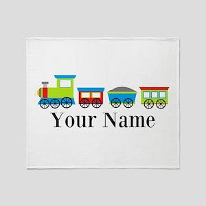 Personalizable Train Cartoon Throw Blanket