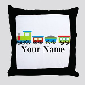 Personalizable Train Cartoon Throw Pillow