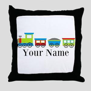 Personalizable Train Cartoon Throw Pillow