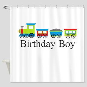Birthday Boy Train Shower Curtain