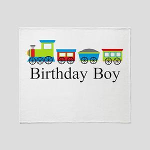 Birthday Boy Train Throw Blanket