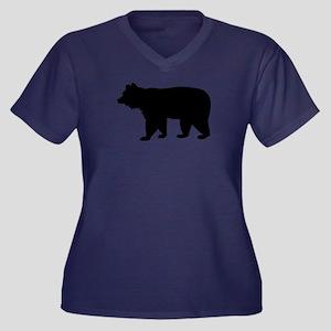 Black bear Women's Plus Size V-Neck Dark T-Shirt