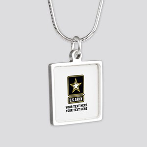 US Army Star Silver Square Necklace
