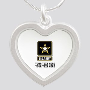 US Army Star Silver Heart Necklace
