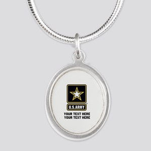US Army Star Silver Oval Necklace