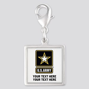 US Army Star Silver Square Charm