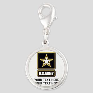 US Army Star Silver Round Charm