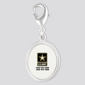 US Army Star Silver Oval Charm