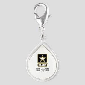 US Army Star Silver Teardrop Charm