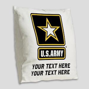 US Army Star Burlap Throw Pillow