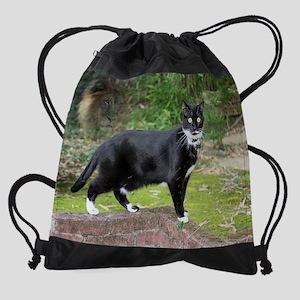 August kitty Drawstring Bag