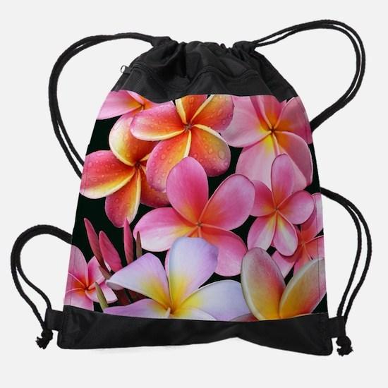 Pink Plumerias Drawstring Bag