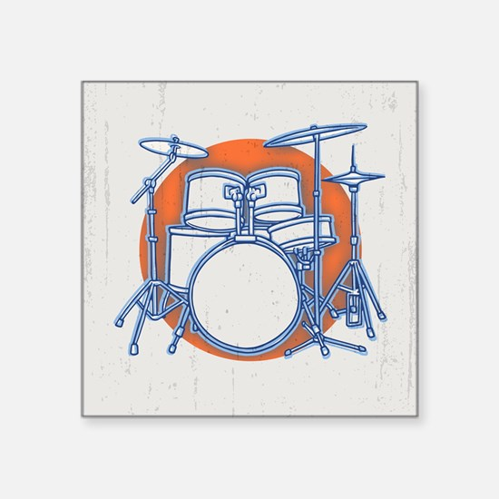 "Offset Drum Kit Square Sticker 3"" x 3"""
