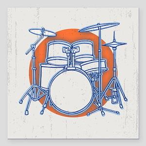 "Offset Drum Kit Square Car Magnet 3"" x 3"""