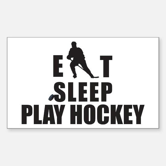 Eat Sleep Play Hockey Rectangle Decal