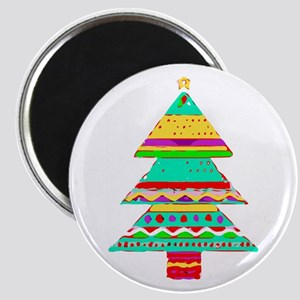 Merry Christmas Tree Red Green Aqua Purple Magnets