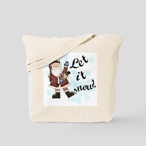 Santa Let it Snow Tote Bag
