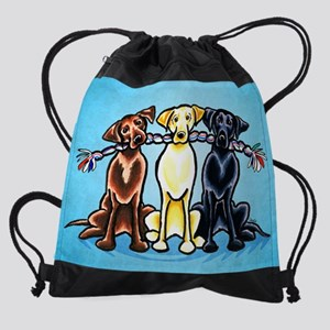 Labs on a Rope Blue Drawstring Bag