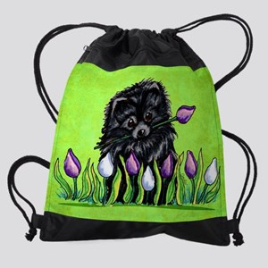 Black Pom Tulips Green Drawstring Bag