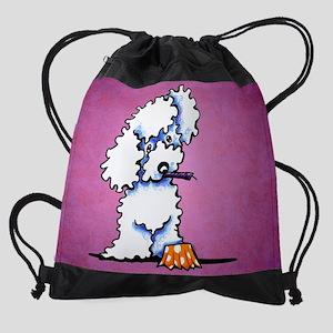 White Poodle Cake Thief Drawstring Bag