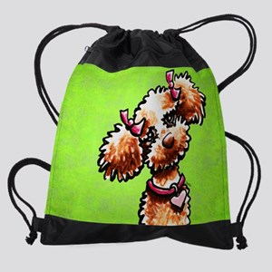 Apricot Poodle Girly Green Drawstring Bag