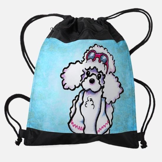 Poodle Poolside Blue Drawstring Bag