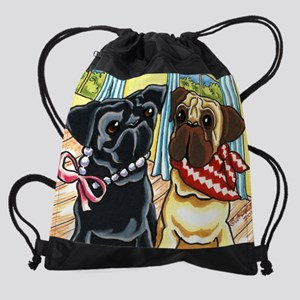 Pug Summer Social Drawstring Bag