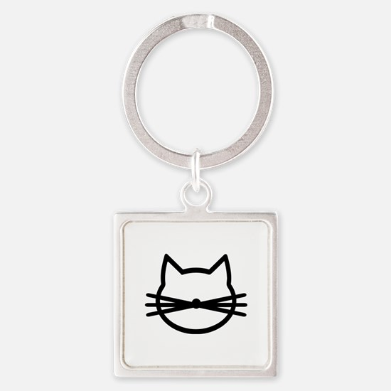 Cat head face Square Keychain