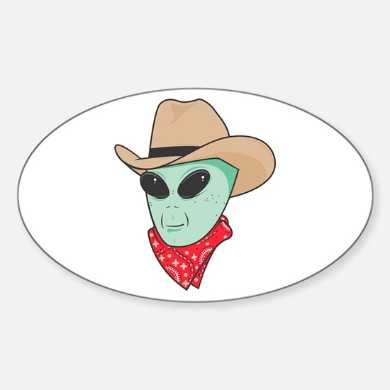 Cowboy Alien Oval Decal