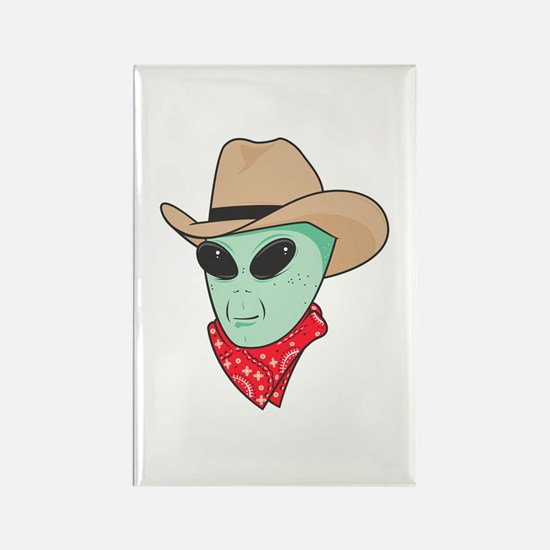 Cowboy Alien Rectangle Magnet