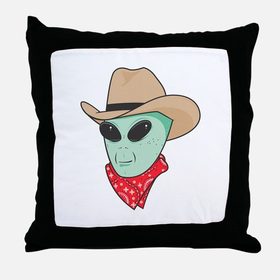 Cowboy Alien Throw Pillow
